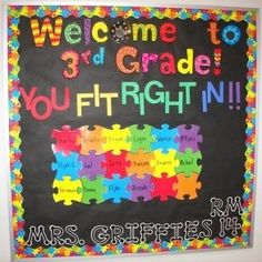 fun bulletin board for the first month of school - I think I could make this into an activity by giving each student a puzzle piece they can draw on with information all about themselves