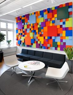 Cool office interiors - decoration can stimulate motivation and create an atmosphere that cranks up inspiration · artwork Colorful Interior Design, Office Interior Design, Office Interiors, Colorful Interiors, Interior Walls, Office Wall Art, Office Walls, Office Decor, Office Ideas