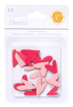 Essentials Chipboard Hearts - Red & Pink at @Studio_Calico