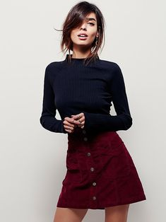 Hold My Hand Cord Skirt at Free People Clothing Boutique Button Up Skirt Outfit, Button Up Skirts, Skirt Outfits, Fall Outfits, Cute Outfits, Fashion Moda, Look Fashion, Fashion Beauty, Womens Fashion