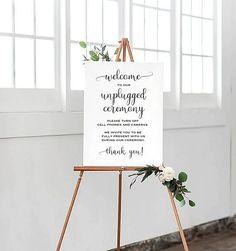 Printable Wedding Sign Unplugged Wedding Sign Minimalist wedding, modern wedding decorations, simple wedding decor.