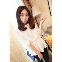 $7.54 Delicate Shirt Collar Solid Color Elastic Waist Openwork Lace Half Sleeves Chiffon Blouse For Women