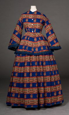 Day Dress  Date:  c. 1854–1856  Material:  Wool/Silk