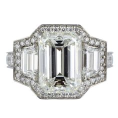 3.39 ct Emerald Cut Diamond Ring