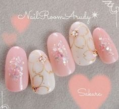 Here are some hot nail art designs that you will definitely love and you can make your own. You'll be in love with your nails on a daily basis. Nail Art Designs, Flower Nail Designs, Trendy Nails, Cute Nails, Cherry Blossom Nails, Cherry Blossoms, Jolie Nail Art, Kawaii Nail Art, Gel Nagel Design