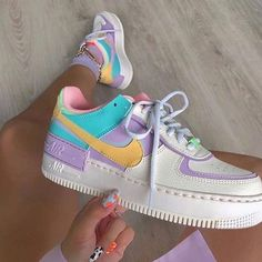 Back to the with these amazing new sneakers from Nike. They come in the original design of the Air Force 1 but then with double layered details. In beautiful pastel rainbow colors. Named Nike Air Force 1 Shadow Pale… Dr Shoes, Hype Shoes, Me Too Shoes, Shoes Sneakers, Nike Women Sneakers, Shoes Trainers Nike, Cute Sneakers For Women, Shoes Jordans, Tennis Sneakers