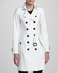 $1,895, White Trenchcoat: Burberry London Mulberry Silk Blend Trenchcoat White. Sold by Neiman Marcus. Click for more info: https://lookastic.com/women/shop_items/10902/redirect