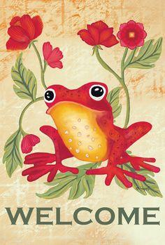"""Amazon.com : Toland Home Garden Welcome Frog Decorative USA-Produced Garden Flag, 12.5 by 18"""" : Patio, Lawn & Garden"""