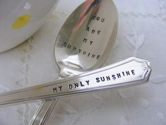 Hand Stamped Fork Spoon You Are My Sunshine My by BabyPuppyDesigns, $25.00