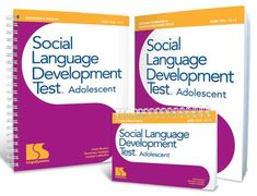 SLDTest Adolescent is a standardized test of social language skills that focuses on social interpretation and interaction with peers. Tasks require students to take someone's perspective, make correct inferences, solve problems with peers, interpret social language, and understand idioms, irony, and sarcasm. SLDTA differentiates students with language disorders or autism spectrum disorders from students developing language normally. Norm-referenced. Ages 12-17.