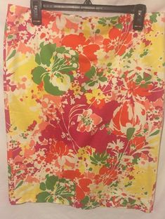 417c839dbe6 Talbots Woman s 12 Stretch Pencil Skirt Pink Yellow Orange Yellow Floral  Summer