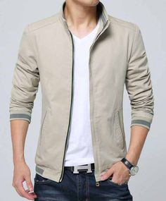 Men's #khaki long sleeve zip up #jackets casual design, stand collar, Side pockets, Internal pocket, casual, outdoor, leisure, work Occasions.