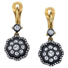 Diamond Gold Cluster Dangle Earrings