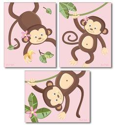 Set of  3 Pink Jungle Monkey Monkeys Nursery Art by smileywalls, $18.90