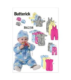 Butterick Pattern B6238-YA5 Infants' Jacket Overalls Pants Bunting and Hat-All Sizes