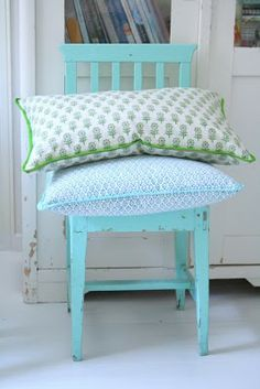 coussins chaise bleue