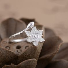 Sterling Silver Lotus Ring / Lotus Blossom Ring / Sterling Silver Ring / Adjustable Ring