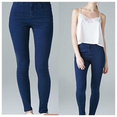 Forever 21 high waist jeans Color: Indigo. Stretches. SUPER COMFORTABLE!! perfect all year round. I would wear a white crop top with wedges with these. Hugs the ankles. Skinny jeans Forever 21 Pants Skinny