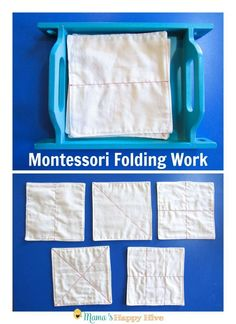 This Montessori Care of Self post includes dressing frames, folding work, and independently putting clothes away. - http://www.mamashappyhive.com