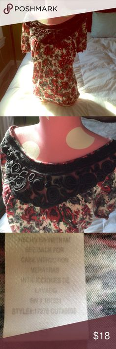 Charlotte Russe roses top with black lace Beautiful top with red roses and top is beautiful lace detail Great condition Charlotte Russe Tops Blouses