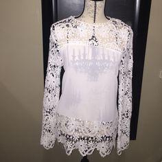 Sheer white lace shirt. Sheer white lace shirt. Tops Blouses