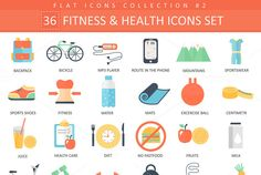 36 Fitness & health flat icons set. by @Graphicsauthor