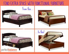 Fine extra space in your bedroom with functional furniture! Solid Wood Bedroom Furniture, Find Furniture, Durham Furniture, Classic Home Decor, Bedroom Styles, Small Spaces, Inspired, Cool Stuff, Storage