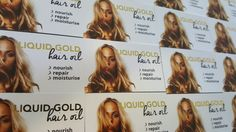 Liquid gold hair oil new business cards