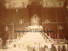 ANTIGUA FOTOGRAFIA ORIGINAL ELCHE AÑOS 20 HISTORICA IGLESIA SANTA MARIA QUEMADA EN LA GUERRA CIVIL