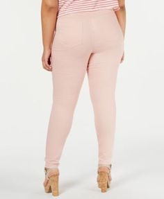 f044dd064be89 Hue Plus Size Original Smooth Denim Leggings, Created for Macy's - Pink