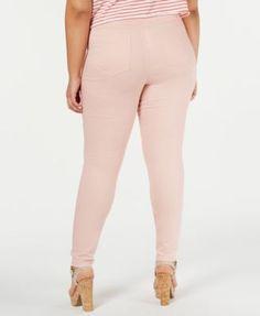 1b3e5c65a61e3 Hue Plus Size Original Smooth Denim Leggings, Created for Macy's - Pink