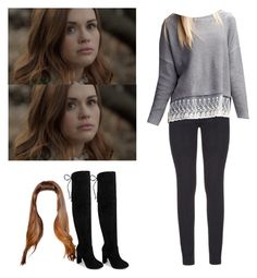 """Lydia Martin with black thigh high boots - tw / teen wolf"" by shadyannon ❤ liked on Polyvore featuring Paige Denim, Boohoo and chloah"