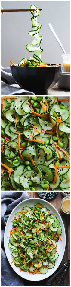 Sesame Ginger Miso Cucumber Salad by snixykitchen via wholeyum#Salad #Cucumber #Sesame #Ginger #Miso #Light #Healthy