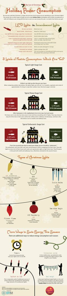 No one ever said that Christmas is cheap, but just how much money are you spending on your Christmas lights? The answer lies in which types of bulbs you are using! Golden Shine investigates which bulbs (incandescent or LED) will influence your energy bill the most so you can save money this year--no matter how festive you get! http://hellocleaning.com/blog/holiday-power-consumption-infographic.php