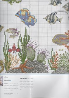 Cross Stitch Sea, Cross Stitch Flowers, Diy Bead Embroidery, Embroidery Designs, Fish Patterns, Flower Patterns, Needlepoint Patterns, Cross Stitch Patterns, Needlework