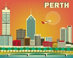 Perth, Australia Skyline 8 x 10 Poster Wall City Art for Homes, Gifts, and Nursery - Brand New - style - E8-O-PER on Etsy, $30.59 AUD