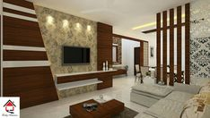 Classy wood partition and tv unit designed with ex Wood Partition, Living Room Partition Design, Living Room Tv Unit Designs, Room Partition Designs, Tv Cabinet Design, Tv Wall Design, Ceiling Design, Tv Unit Interior Design, Wall Unit Decor