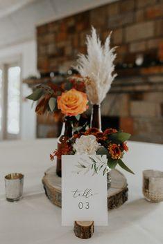 Barn Wedding Centerpieces, Orange Centerpieces, Bridal Shower Centerpieces, Fall Wedding Decorations, Fall Centerpiece Ideas, Wedding Ideas, Wedding Tables, Fall Wedding Flowers, Fall Wedding Colors