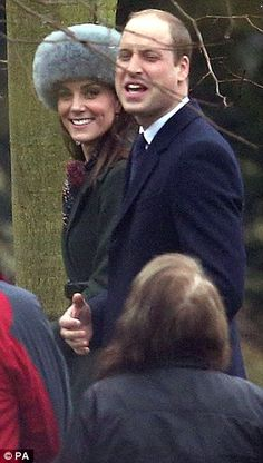 Prince William, 34, and Kate, who turns 35 tomorrow, appeared to be in good spirits as they attended the service