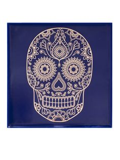 Ceramic wall tile size: 148mm X 148mm X 6mm Each 22ct gold sugar skull is fired into the glaze of the gloss tiles giving them durable professional ...