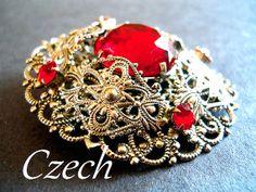 Vintage Czech Brooch Red Rhinestone Filigree by RenaissanceFair, $34.00