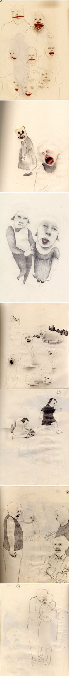 Aris Moore is a New Hampshire-based artist. These pieces are from her daily sketchbook.