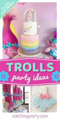 Don't miss this colorful Trolls themed birthday party! The balloon centrepieces are wonderful! ee more party ideas and share yours at CatchMyParty.com #catchmyparty #partyideas #trolls #trollsparty #girlbirthdayparty Trolls Birthday Party, Girls Birthday Party Themes, Troll Party, Girl Birthday, Balloon Centerpieces, Centrepieces, Party Drinks, Party Favors, Rainbow Theme