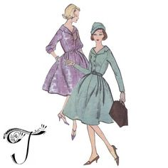 Vogue patterns 9626 - 1950s dress - Shirt dress pattern - Bust 36 inches - Vintage sewing pattern.   One piece dress: The full skirt with released pleats