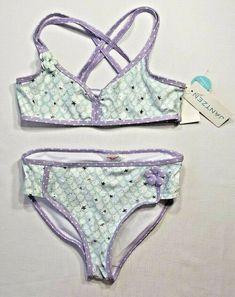 8cba1bd17b NWT Jantzen Girls 10 Purple Mint Green Mermaid Print 2-Piece Bikini Swim  Suit #