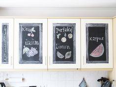 Küchenfront mit Tafelfolie bekleben