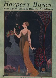 ๑ Nineteen Fourteen ๑ historical happenings, fashion, art & style from a century ago - Harper's Bazar Bazaar June 1914 George Barbier Cover Mode Vintage Illustration, Art Deco Illustration, Magazine Illustration, Illustration Sketches, Vintage Illustrations, Fashion Illustrations, Bazar Vintage, Art Vintage, Vintage Posters