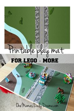 Printable play mat for LEGO + more | One Mama's Daily Drama --- This free printable paper play mat is fun for LEGO, blocks, cars, dinosaurs, and other play.