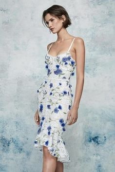 a736afa9961752 Marchesa Notte Resort Fabulous white dress with blue flowers and a bustier  detail.