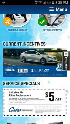 Hyundai Rebate Schedule Service Cabin Air Filter Incentive